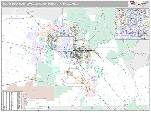 MarketMAPS Phoenix-Mesa-Scottsdale, AZ Metro Area Wall Map - 2018 - ZIP Codes - Laminated - 64 x 48 inches (Scottsdale Furniture Az)