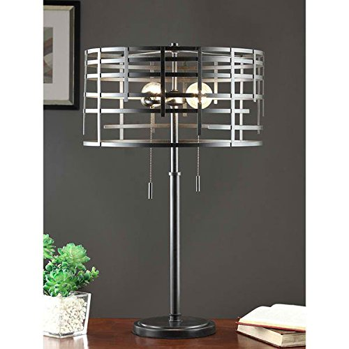 Table Lamp / Desk Lamp, Renate Spiral Round Table Lamp MG9232 in Antique Finish, 17 inches x 17 inches x 9 inches high