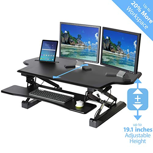 """Seville Classics AIRLIFT 47"""" Extra-Wide Gas-Spring Height Adjustable Standing Desk Converter Workstation with Keyboard Tray Ergonomic Table, Black"""