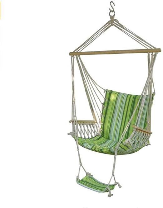 Hamaca colgante para jardín, patio, porche, silla, cuerda de algodón, columpio, silla, hamaca colgante para interior y exterior, asiento de campamento, hamaca con reposapiés: Amazon.es: Jardín