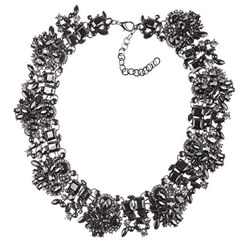 NABROJ Black Bib Drag Necklace Vintage Statement Necklace for Women Costume Jewelry 1 Pc with Gift Box-HLN001 Black