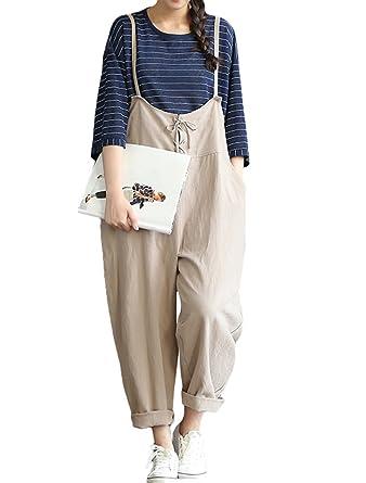 248f1f0c8632 Amazon.com  Minibee Women s Linen Loose Overalls Baggy Pants Harem Jumpsuits   Clothing