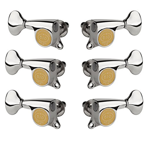 Gotoh Mini Tuners - Gotoh Mini 510 6-In-Line Guitar Tuners with Metal Knobs, Chrome