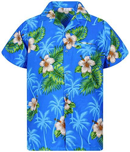 Hula Girl Costumes Plus Size - Funky Hawaiian Shirt, White Flower, blue,