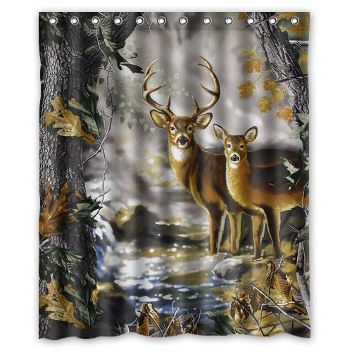 Custom Waterproof Fabric Bathroom Deer in the Forest Shower Curtain 60