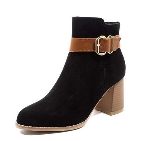 78354473 PINGXIANNV Las Mujeres Botas De Invierno Zapatos De Cuero Hebilla Mujer  Botines De Colores Mezclados Moda