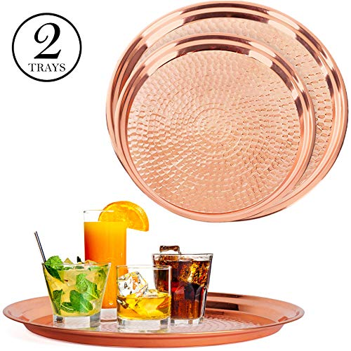 - Colleta Home Copper Tray - 2 Pack - Large Tray 15 inch, Medium Tray 13 Inch - Copper Decorative Tray