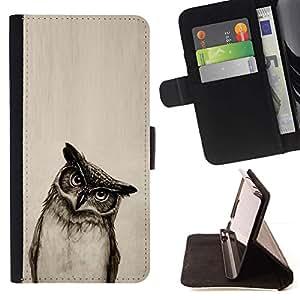 Momo Phone Case / Flip Funda de Cuero Case Cover - Owl Art Dibujo Lápiz Negro Blanco Noche de Aves - Huawei Ascend P8 Lite (Not for Normal P8)