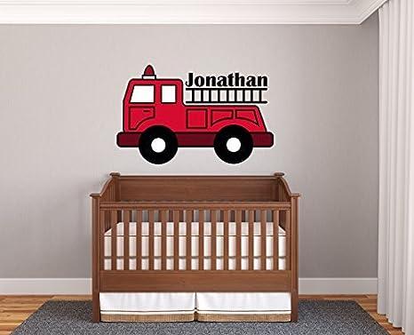 Nursery Design Children/'s Room Decor Little Boy Decal, Fire Truck Vinyl Wall Decal SMALL