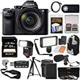 Sony Alpha A7R II 4K Wi-Fi Digital Camera & FE 24-70mm f/4.0 ZA Lens 64GB Card + Battery & Charger + Backpack + Tripod + Flash + LED + Mic Kit