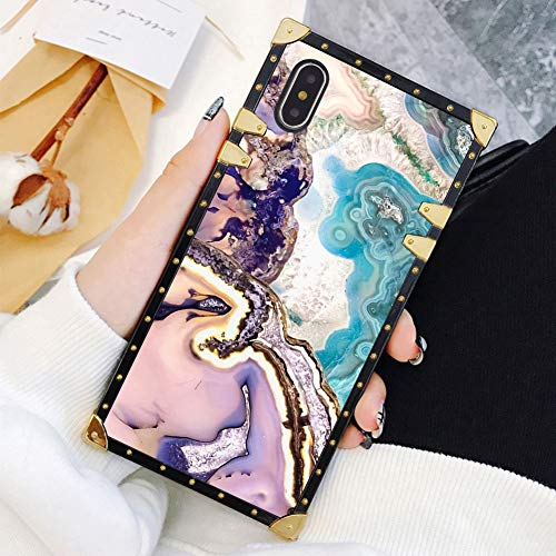Square Case Compatible iPhone Xs Max Agate Slice Marble Luxury Elegant Soft TPU Full Body Shockproof Protective Case Metal Decoration Corner Back Cover iPhone Xs Max Case 6.5 Inch