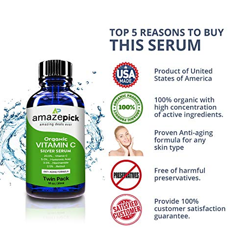 Amazon.com: Twin Pack Organic Vitamin C Serum with Hyaluronic acid reduce Wrinkles,boost collagen,Anti-Aging,filling in fine lines & glow skin.