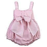 Charm Kingdom Baby Girls Striped Seersucker Bubble Straps Ruffle Layers Bowknot Romper (70(0-6M))