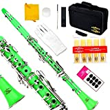 Glory B Flat Clarinet with Second Barrel, 11reeds,8 Pads cushions,case,carekit and more~Green with silver keys