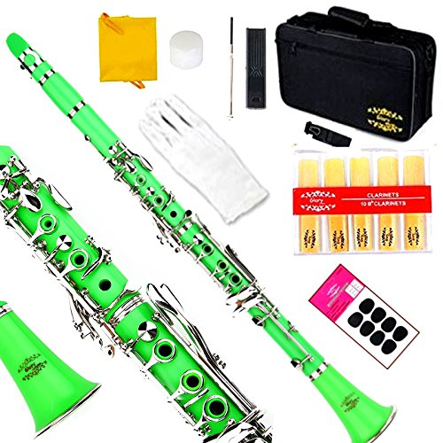 Glory B Flat Clarinet with Second Barrel, 11reeds,8 Pads cushions,case,carekit and more~Green with silver keys by GLORY