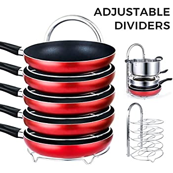 Lifewit Height Adjustable Pan Pot Organizer Rack, 5-Tier Cookware Holder for Cabinet Worktop Storage, 18/10 Stainless Steel