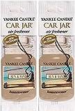 Yankee Candle Car Jar Classic Cardboard Car ,Home & Office Hanging Air Freshener, Sun & Sand (Pack of 2)