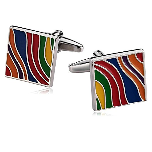 Aooaz Men Stainless Steel Cufflinks Square Colorful Rainbow Enamel Cufflinks Wedding With Gift Box ()