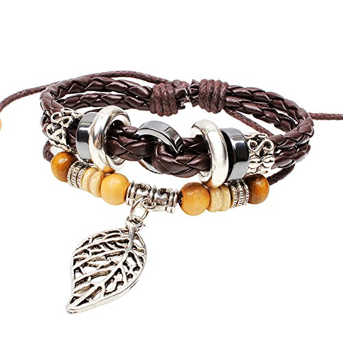 Bohemian Amorous Feelings Leather Bracelet with Alloy Maple Leaf Accessory Adjustable Cuff Charm Bangle