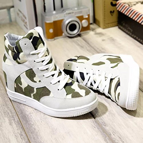 Inkach Boot Womens Beige Increased Ladies Shoes Shoes High Casual Top Canvas Height rnrwpTUq