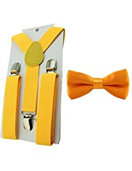 HABI Toddler Baby Boys Girls Clip On Suspenders Bow Tie Set Kid Pre Tied Bowtie (Gold)