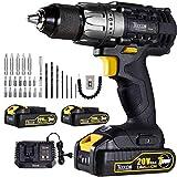 Cordless Drill, 20V 1/2' Drill Driver Set 2x2.0Ah Li-Ion Batteries, 30Min Fast Charger 4.0A, 29pcs...