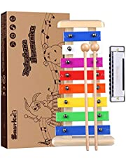 Precies gestemde houten xylofoon voor kinderen met harmonica- Smarkids Premium muziekinstrumenten voor kinderen Percussie-instrumenten met kindveilige hamers leren Muzikaal speelgoed Geschenken
