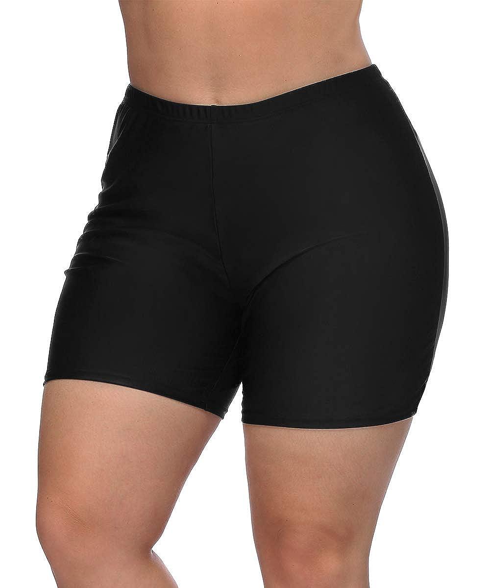 V FOR CITY Women's Plus Size Swim Shorts Solid Boardshorts Tankini Bottom Swimwear Boyshorts