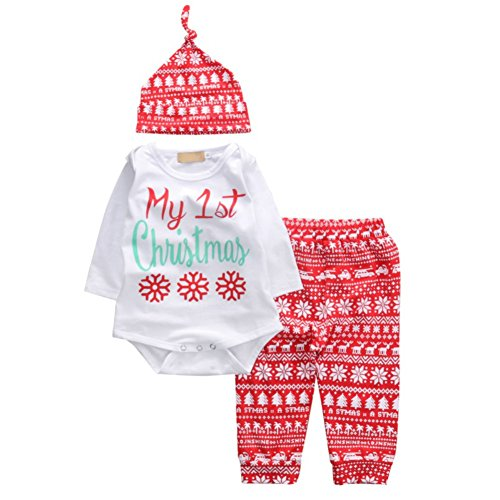 BAOBAOLAI Lovely Newborn Baby Boy Girl First Christmas Clothes Romper Pants Hat Outfit Set