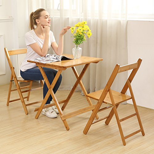 UNICOO – Bamboo Square Folding Deck Table, Card Tables,Patio Table, Bistro Set 3 Piece with Two Folding Chairs T60-S
