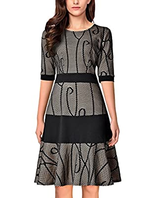 Noctflos Women Vintage Colorblock A-Line Cocktail Party Dress With Half Sleeve