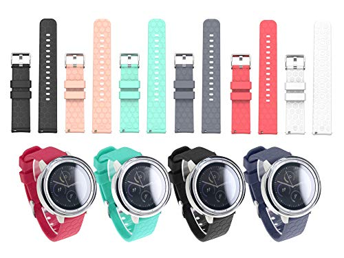Chofit Sport Band 20MM 6Pcs Replacement Watch Band Strap Compatible with Amazfit Bip,Compatible with Ticwatch E,Compatible with Garmin Vivomove/Vivoactive 3/Forerunner 645 Music (Garmin 205 Replacement Band)