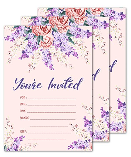 25 Floral Lace You're Invited Party Invitations 5x7