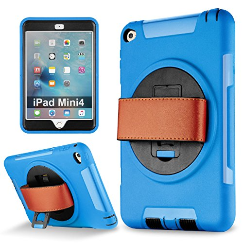 iPad Mini 4 case, Samcore Shockproof 360 Degree Rotating Leather Handle Grip and Kickstand case with Built in HD Screen Protector for iPad Mini 4 [Blue] [not for Mini 1/2/3]