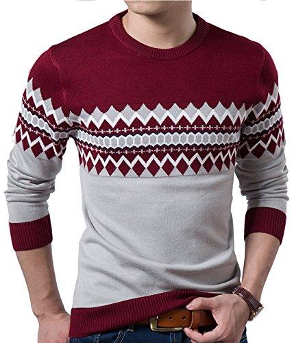 S&S Men's Winter Vintage Slim Fit Geometric Zig-zag Patterns Hit Color Crew Sweater
