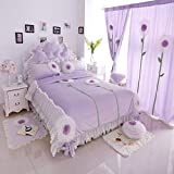 FADFAY Cute Girls Bedding Set Queen Size Korean White Lace Ruffle Bedding Set