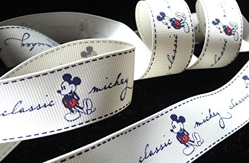 1 inch MICKEY MOUSE classic original cream color Disney grosgrain RIBBON ~ 1 Yd Long ~ hair tie headband wrap gifts bows crafts