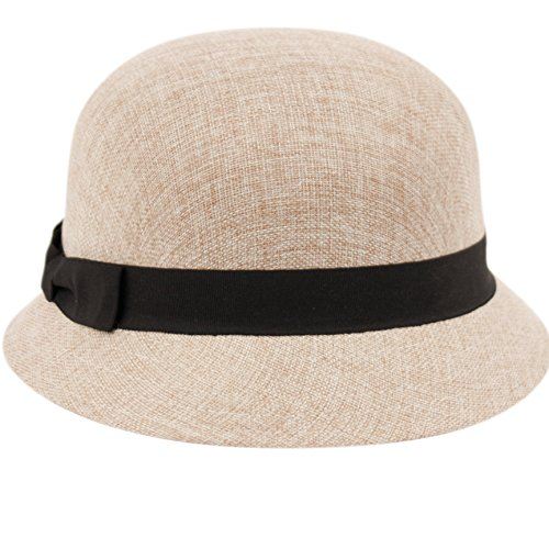 86474dfec4e5df Women's Gatsby Linen Cloche Hat with Lace Band and Flower (CL2696KHAKI)