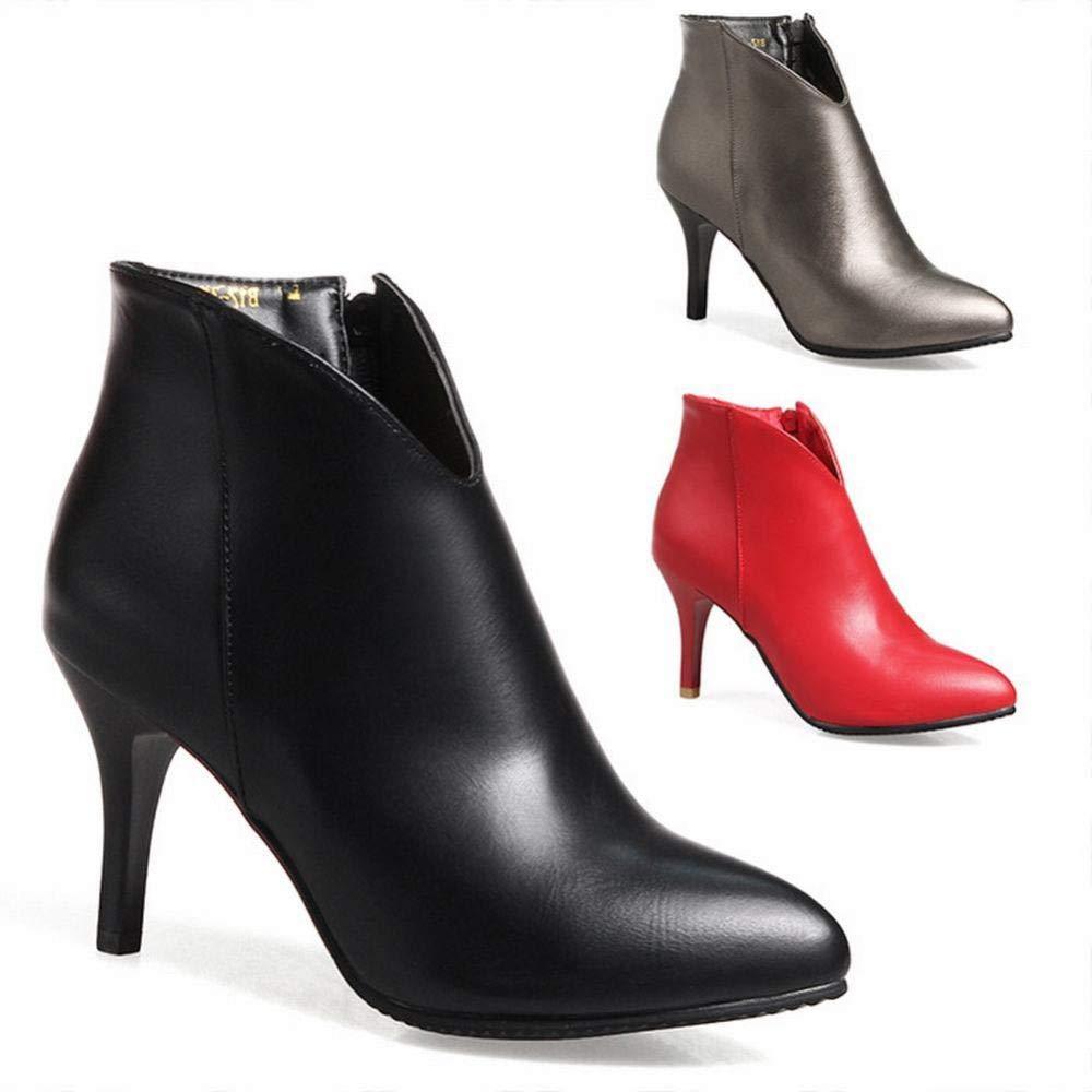 Stiefel Für Damen, Warme High-Heel-Stiefeletten, Knöchelhohe Stiefel, Stöckelschuhe,Schwarz,40
