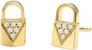 Michael Kors Women Cubic Zirconia Mercer Link 14Ct Gold Plated Padlock Pave Stud