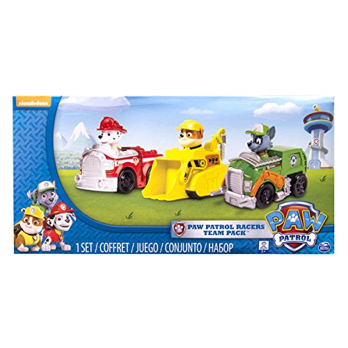 (Paw Patrol Racers 3-Pack Vehicle Set, Marshall, Rocky,)