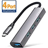 USB C Hub, JSAUX 4 Port Ultra Slim Aluminum High-speed Data Transfer USB Adapter Compatible with MacBook Pro 2016/2017 iMac, Google Chromebook Pixelbook, XPS, Samsung S9, S8 and More USB Type C Device