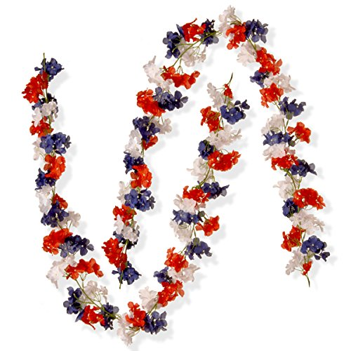 National Tree Set of 2 6 Foot Patriotic Garland with Red, White and Blue Hydrangeas -