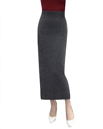 Mujer Falda de Punto, De Tubo, A-Line, Cintura Elástica, de ...