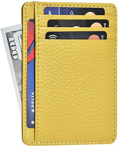 (Clifton Heritage Leather Wallets for Women - RFID Blocking Ultra Slim Minimalist Front Pocket Wallet (Yellow Floater))