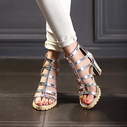 YOUJIA Mujer Casual Punta abierta Plataforma Sandalias con Talón Romanas Zapatos de gladiador Plateado