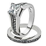 Princess Cut Zirconia Stainless Steel 316 Wedding Ring Band Set Womne's Size 8