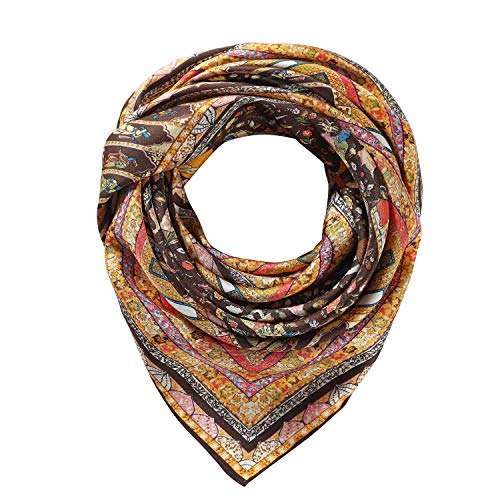Silk Scarfs Women Square Silk Scarf for Hair, 100% Pure Silk Head Scarf for Women 35''x35'' - Classic Pure Scarf Silk
