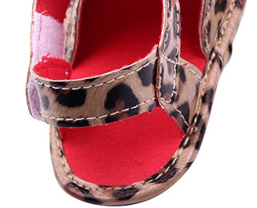 Happy Cherry Zapatos Sandalias para Bebé Niña Estilo Retro Vintage Decoración de Flor leopardo