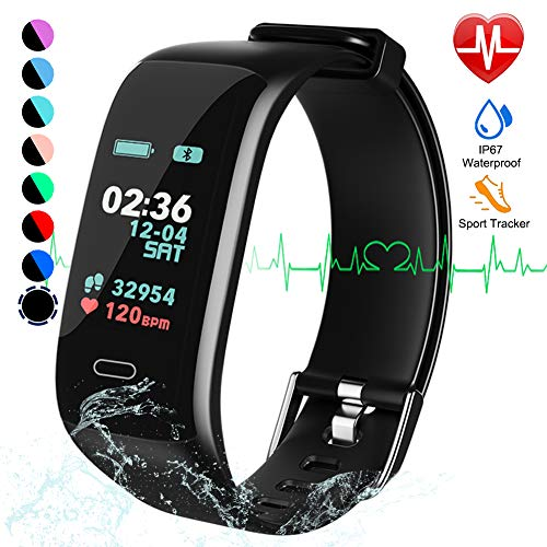 Fitness Tracker, Color Screen Activity Tracker Watch with Blood Pressure Blood Oxygen, IP67 Waterproof Smart Band with Heart Rate Sleep Monitor Calorie Counter Pedometer for Men, Women and Kids (Best Fitness Tracker On The Market 2019)